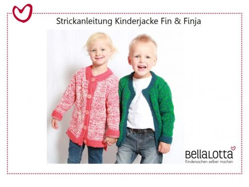 Strickanleitung Kinderjacke Fin & Finja 98-128