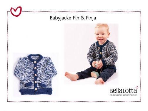 Strickanleitung Babyjacke Fin & Finja in 3 Größen von 3-24 M