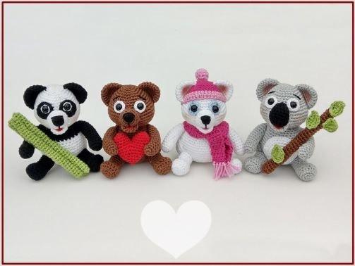 Häkelanleitung Bär - Braunbär, Eisbär, Koala, Panda -