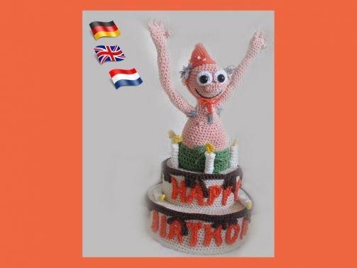 Happy Birthday Bill, Amigurumi pop ,gehaakte poppen patroon,