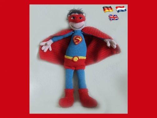 Superman, Amigurumi pop ,gehaakte poppen patroon, amigurumi