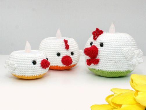 Teelichthalter - Hühner - Häkelanleitung