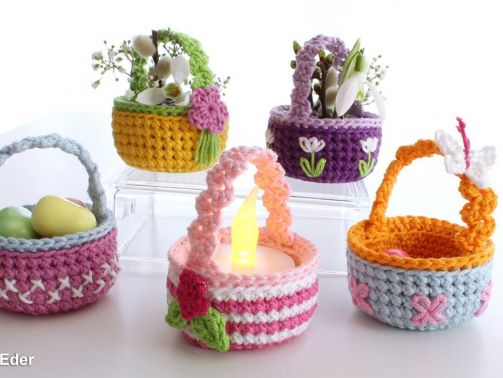 Süße kleine Körbchen - für Teelicht, Ostereier, Geschenke