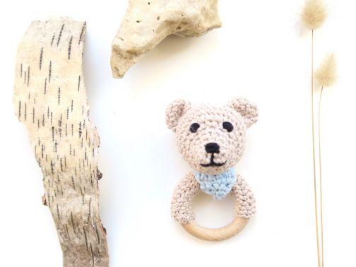 Teddy mit Tuch - Rassel & Beißring