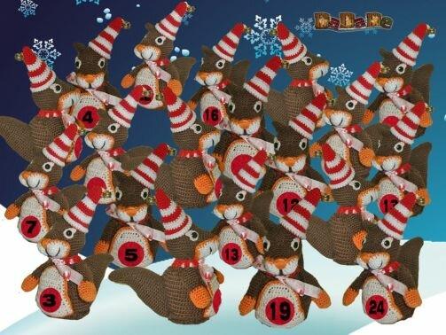 Adventskalender Tiere, Eichhörnchen  - gehäkelt von Dadade