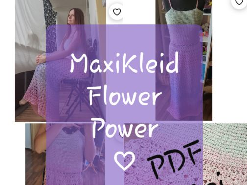 Maxi Kleid häkeln, Flower Power