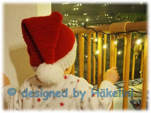 """Häkelanleitung Weihnachtsmütze """"Little Santa"""" für Kinder"""