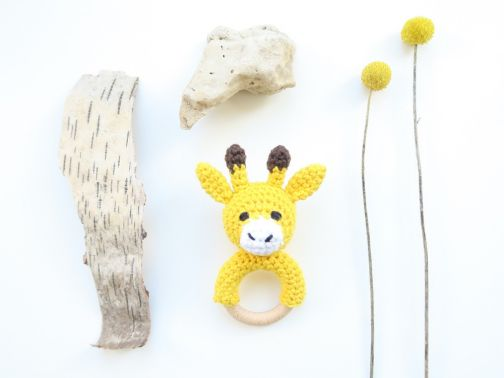 Häkelanleitung - Giraffe Beißring & Rassel