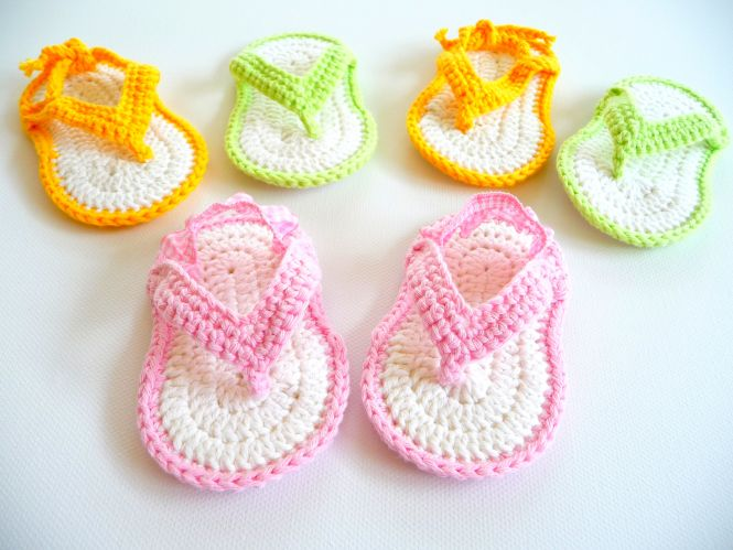Woolaffair Leichte Babyschuhe Häkeln Zehensteg Sandale No5