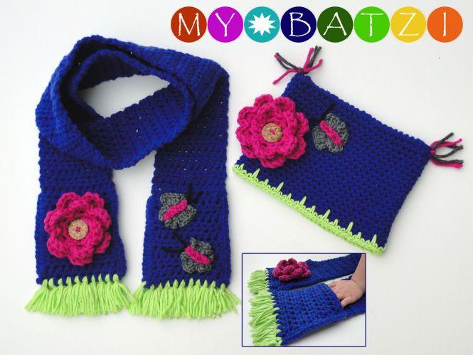 MyBatzi - Mütze und Schal mit Schmetterling und Blume häkeln ...