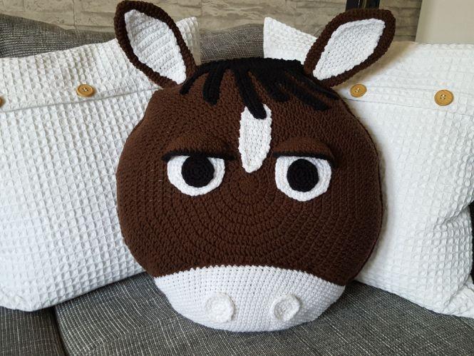 Knotenkönig Häkelanleitung Kissen Pferd Esel Myboshinet