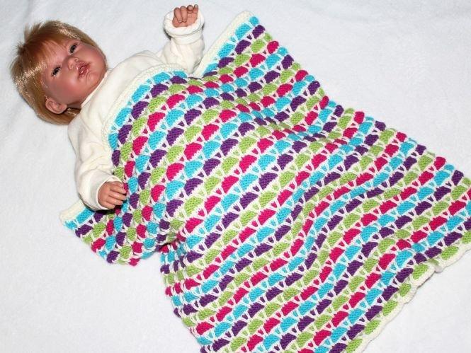 Maschenspiel Strickanleitung Babydecke Plaid Wagendecke