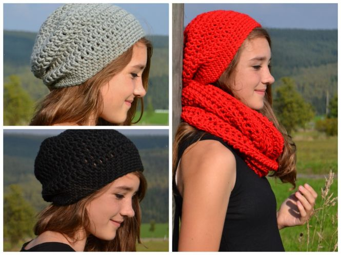 Leomaxi Crochet Charlene Set Beanie Und Loop Häkeln Unisex