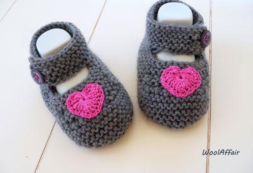 Strickanleitung - Baby Ballerinas mit gehäk. Herz - No.12