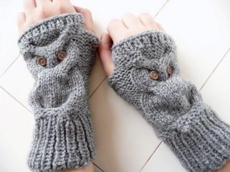 3 Strickanleitungen - Eulen Mütze Schal Handschuhe - No.101S