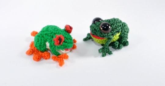 Frosch und Pfeilgiftfrosch Amigurumi Häkelanleitung