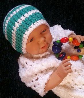 Häkelanleitung Zweifarbiges Babymützchen für Kopfumfang 36