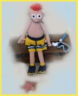 Snorkeller Billy PDF Häkelanleitung Puppe