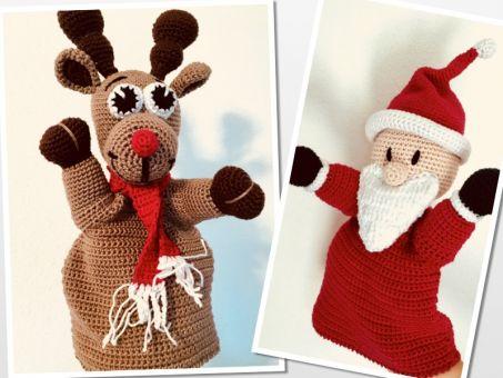 Sparset Handpuppe Weihnachtsmann und Rudolph