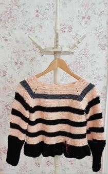 Pullover häkeln, Vintage Fleur
