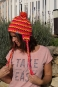 Bommel-Mütze WINTERSONNE mit Ohrläppchen in Strickoptik