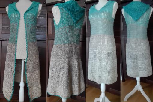 Kleid, Weste (Gr. S-L) oder Mantel mit Kapuze (Gr. S)