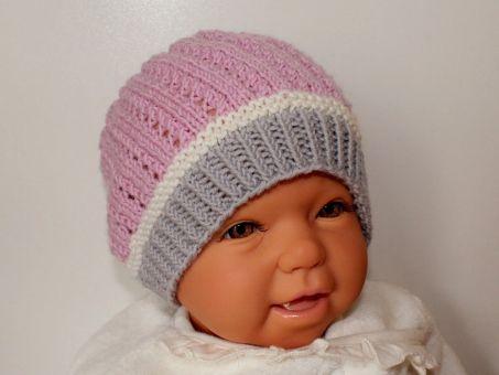 Strickanleitung Babymütze, Baby-Mütze mit Lochmuster