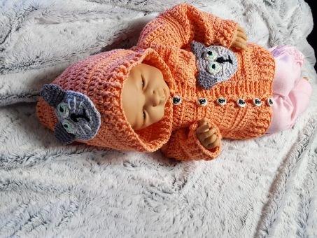 117 Häkelanleitung Babyjacke Katze