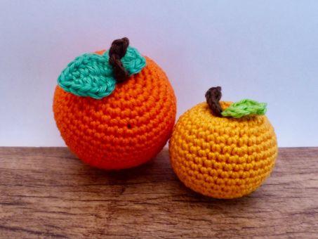 Orange und Mandarine für den Kaufmannsladen häkeln