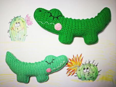 Verträumtes Krokodil als Rassel/Babyspielzeug