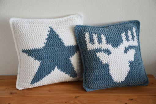 Stern Kissen aus myboshi Samt 40 x 40 cm