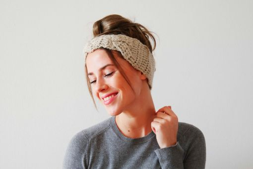Stirnband mit Flechteinsatz