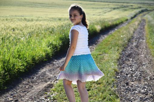 + SELMA + Sommerrock aus einem Bobbel häkeln