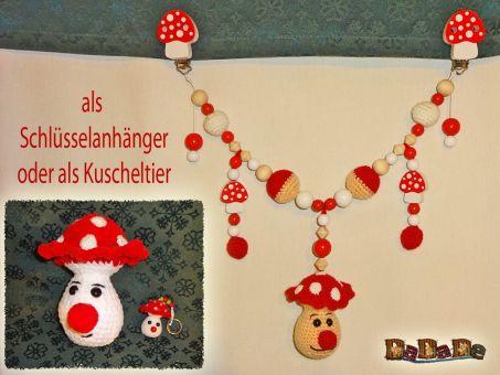 Kinderwagenkette Pilz, Häkelanleitung von DaDaDe