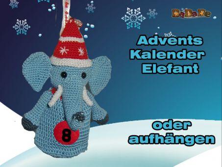 Adventskalender Tiere, Elefant  - gehäkelt von Dadade
