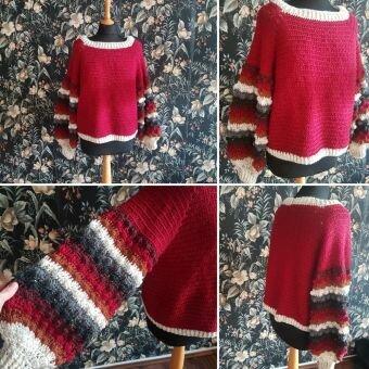 Pullover häkeln, Rosenrot