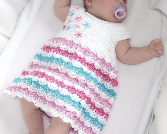 Maschen mit Liebe - Häkelanleitung Baby Kleid 0-4 Jahre \