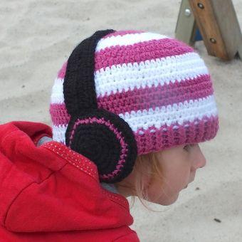 "Häkelanleitung:  ""Headphones"" KU 36-59 Beanie o Mütze Ebook"
