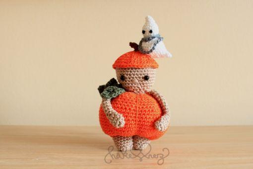 Häkelanleitung Kürbismännchen- Pumpkin-Paul mit Minigeist