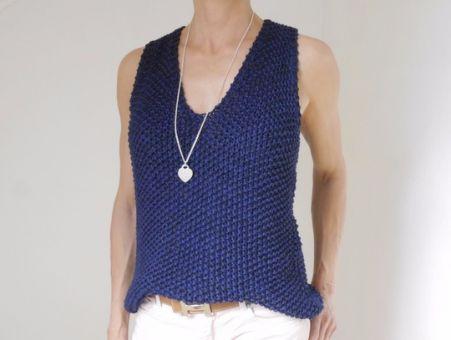 Strickanleitung - Ärmelloser V-Sweater  - DARK BLUE - No.172