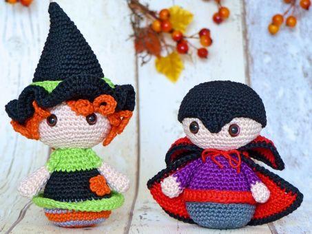 Halloween-Trio: Hexe, Kürbis & Vampir