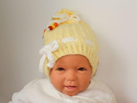 Strickanleitung Babymütze im Flechtmuster, 0 - 9 Monate