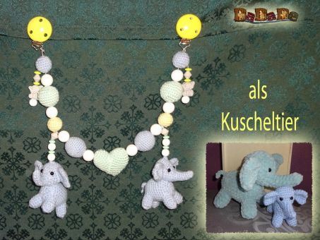 Kinderwagenkette Elefant, Häkelanleitung von DaDaDe