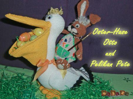 Pelikan Pete und Hase Otto, bereiten sich auf Ostern vor
