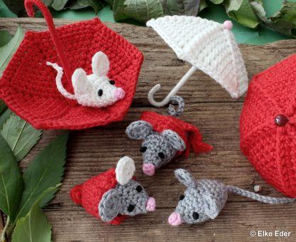 Mäusebande - mit Schirm, Schal und Pudelmütze