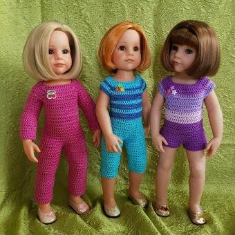 Häkelanleitung Puppen Overall Mini-Midi-Maxi