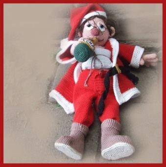 Betrunkener Weihnachtsmann  PDF Häkelanleitung Puppe