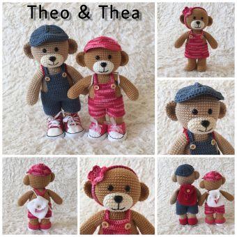 Häkelanleitung Bekleidungsset für Theo und Thea